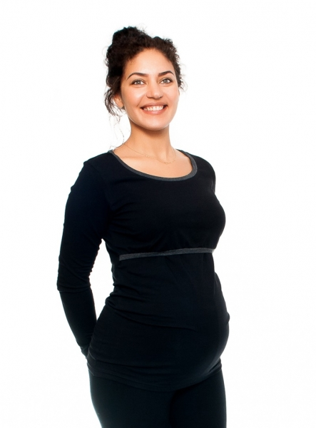 Be MaaMaa Tehotenské a dojčiace triko Aldona, dlhý rukáv, čierne, veľ. M-M (38)