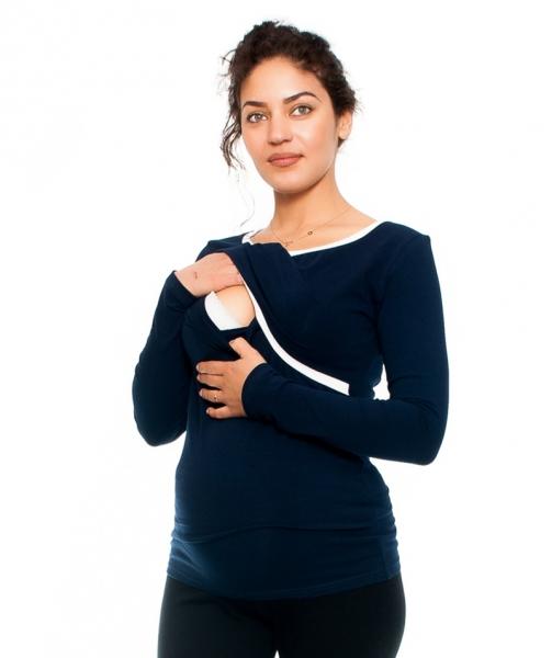 Tehotenské a dojčiace tričko Aldona, dlhý rukáv, granát
