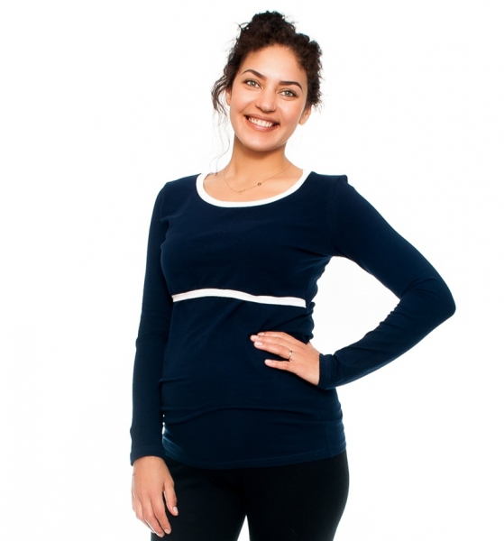 Be MaaMaa Tehotenské a dojčiace triko Aldona, dlhý rukáv, granát, veľ. M-M (38)