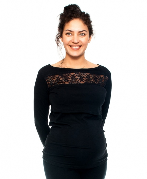 Be MaaMaa Tehotenské a dojčiace triko s krajkou, dlhý rukáv, čierne, veľ. M-M (38)