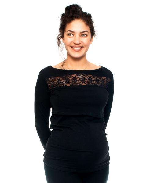 Be MaaMaa Tehotenské a dojčiace triko s krajkou, dlhý rukáv, čierne, veľ. XL