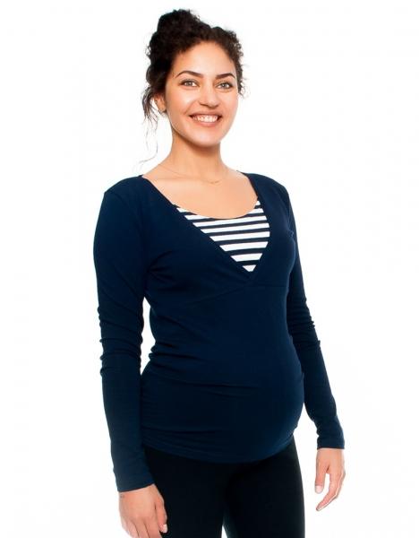 Tehotenské a dojčiace tričko - prúžok, dlhý rukáv, granátové