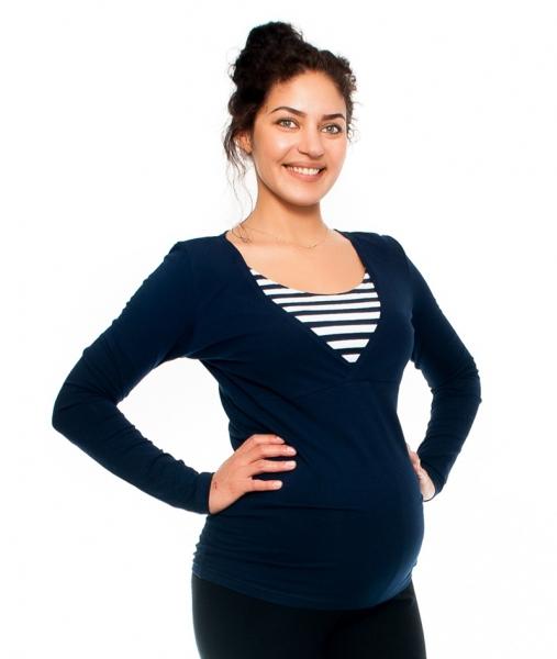 Be MaaMaa Tehotenské a dojčiace triko - prúžok, dlhý rukáv, granátové, veľ. S-S (36)