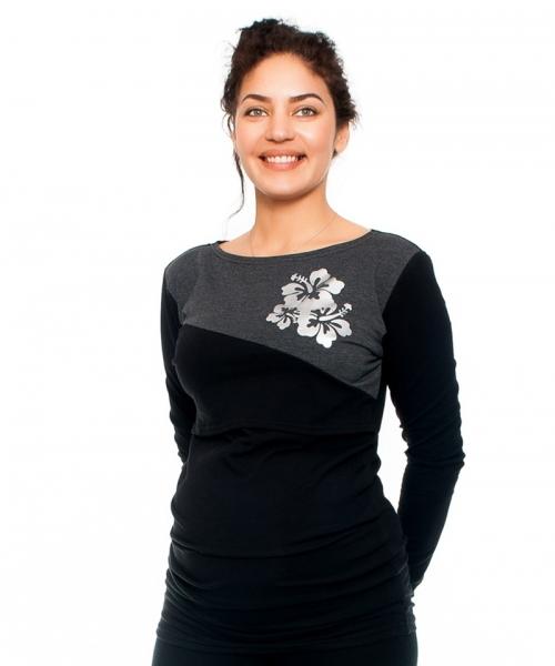 Tehotenské a dojčiace tričko -kvety, dlhý rukáv, čierno/grafitové