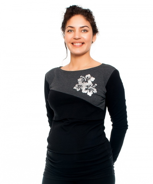 Be MaaMaa Tehotenské a dojčiace triko -kvety, dlhý rukáv, čierno/grafitové, veľ. L