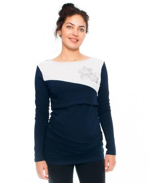 Tehotenské a dojčiace tričko -kvety, dlhý rukáv, granátové/sv. šedé
