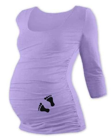Tehotenské tričko 3/4 rukáv s nožičkami, veľ. L/XL - levandulové-L/XL