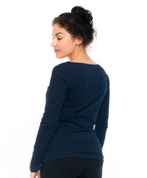 Tehotenské a dojčiace tričko - pierko, dlhý rukáv, granátové
