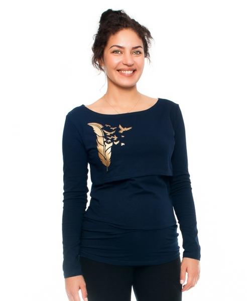 Be MaaMaa Tehotenské a dojčiace triko - pierko, dlhý rukáv, granátové, veľ. S-S (36)