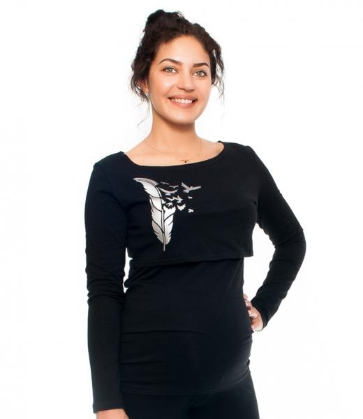 Tehotenské a dojčiace tričko - pierko, dlhý rukáv, čierne