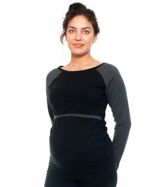 Be MaaMaa Tehotenské a dojčiace triko Viva, dlhý rukáv, čierne/grafit veľ. XL