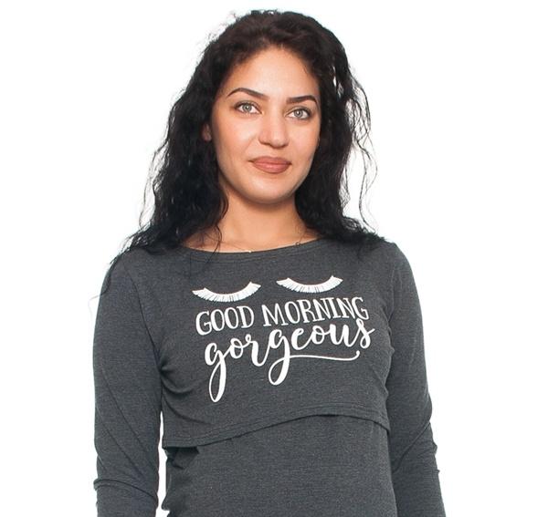 Tehotenská, dojčiaca nočná košeľa Gorgeous - grafitová