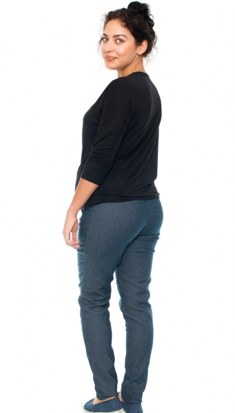 Tehotenské nohavice / jeans s potlačou ruže, granátové