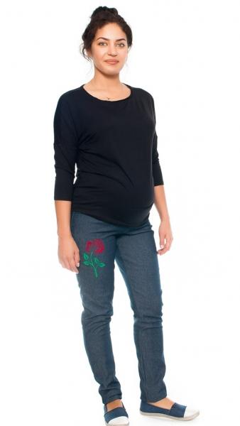 Be MaaMaa Tehotenské nohavice / jeans s potlačou ruže, granátové, veľ. XL