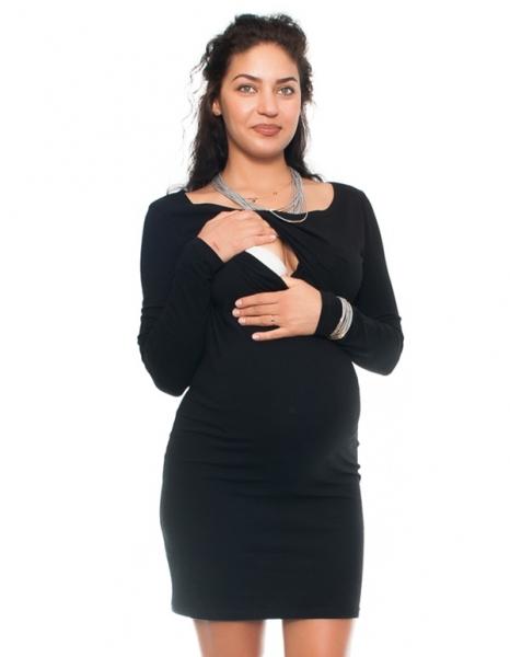 Elegantné tehotenské a dojčiace šaty Aszka - čierne