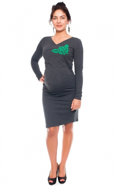Bavlnené tehotenské a dojčiace šaty s potiskom Kvetin, grafit