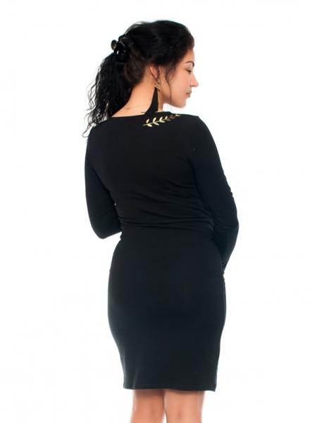 Elegantné tehotenské a dojčiace šaty s výšivkou - čierna