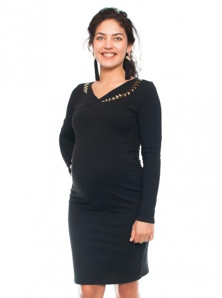 Be MaaMaa Elegantné tehotenské a dojčiace šaty s výšivkou - čierna, veľ. L
