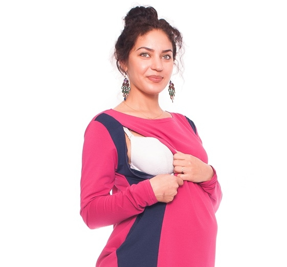 Tehotenské a dojčiace šaty/tunika Paola - amarant