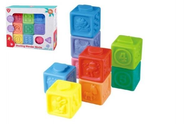 Teddies Gumové kocky 9ks 5x5cm v krabici 23x21x6cm 18m +
