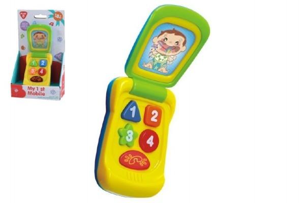Teddies Mobil plast 14cm na batérie so zvukom so svetlom na karte 11x20x5,5cm 18m +