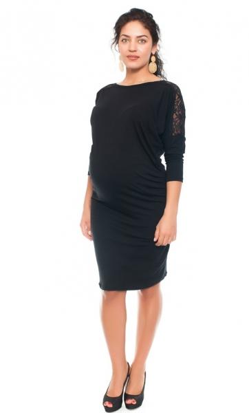 Elegantné tehotenské šaty s čipkou - čierne