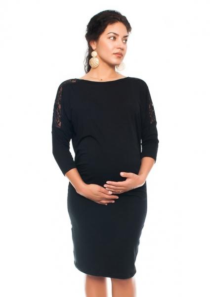 Be MaaMaa Elegantné tehotenské šaty s čipkou - čierne, veľ. L
