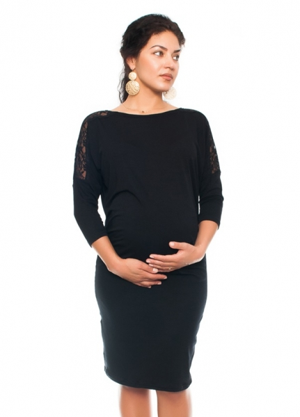 Elegantné tehotenské šaty s čipkou - čierne, veľ. XL-XL (42)