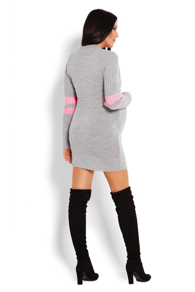 Tehotenský svetrík / tunika so stojačikom - šedá