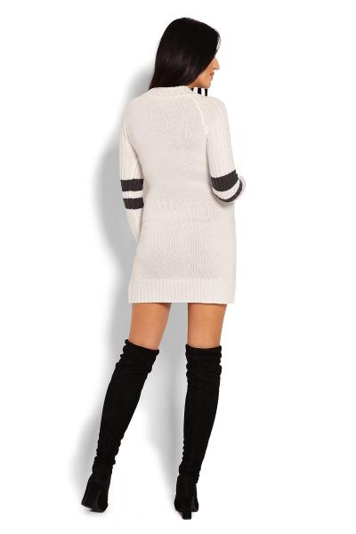 Tehotenský svetrík / tunika so stojačikom - krémový