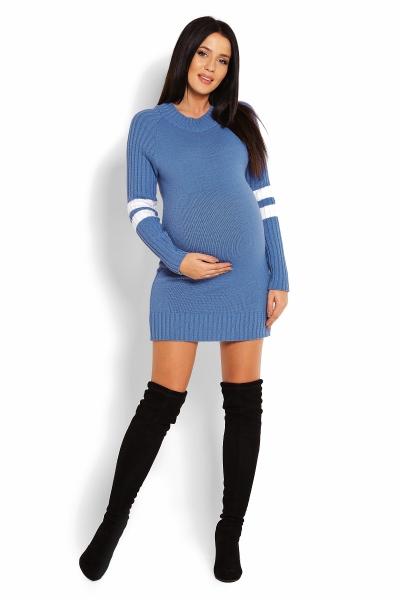 Tehotenský svetrík / tunika so stojačikom - modrý