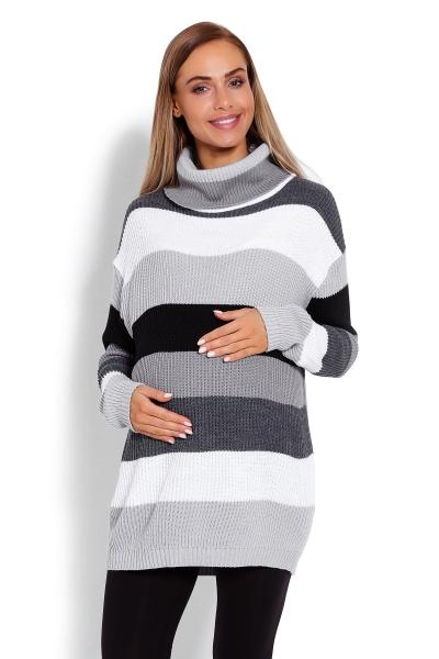 Dlhšie, prúžkovaný tehotenský svetrík, rolák - sivé pruhy-UNI