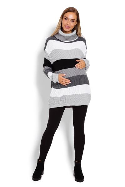 Dlhší, prúžkovaný tehotenský pulóver, rolák - sivé pruhy