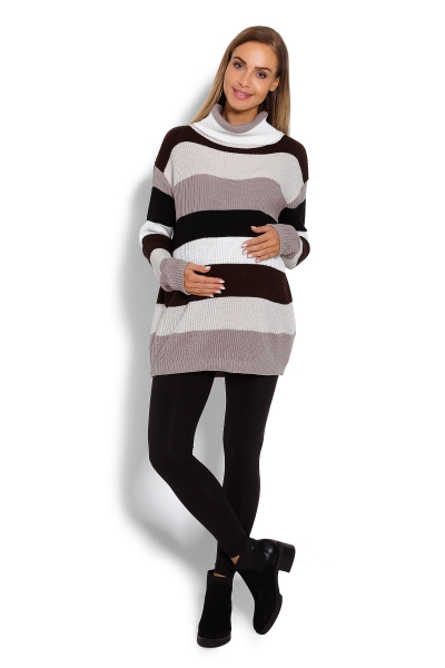 Dlhší, prúžkovaný tehotenský pulóver, rolák - hnedé pruhy