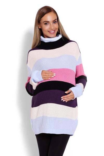 Dlhší, prúžkovaný tehotenský pulóver, rolák - farebné pruhy