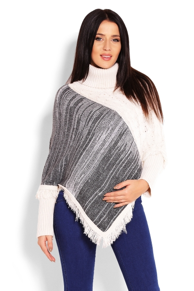 Tehotenské pončo dlhý rukáv, rolák - krémový