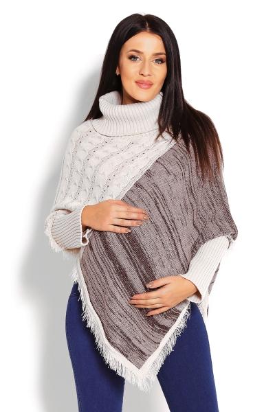Tehotenské pončo dlhý rukáv, rolák - béžový-UNI