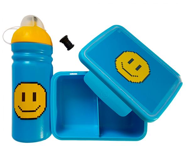 Desiatový box Zdravá desiata - Smajlík modrý
