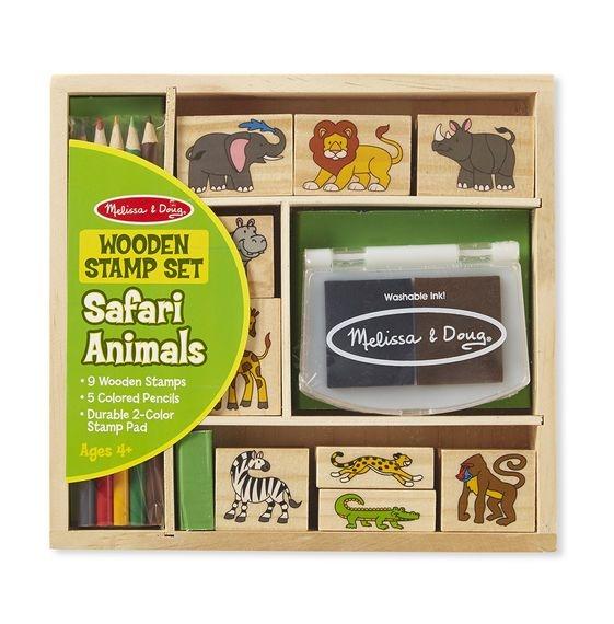 Melissa&Doug Drevené peciatky v krabici - Safari