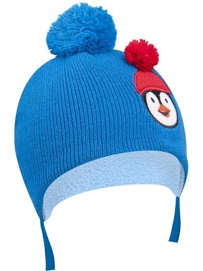 YO !  Zimná čiapočka YO! na zavazovanie Pingwin - modrá-36/38 čepičky obvod