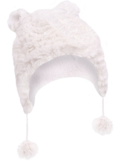 YO !  Zimná čiapočka YO! na zavazovanie Ombre - krémová