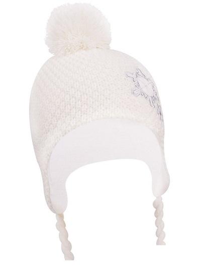 Zimná čiapočka YO! na zavazovanie Vločka - krémová s brmbolcom-34/36 čepičky obvod