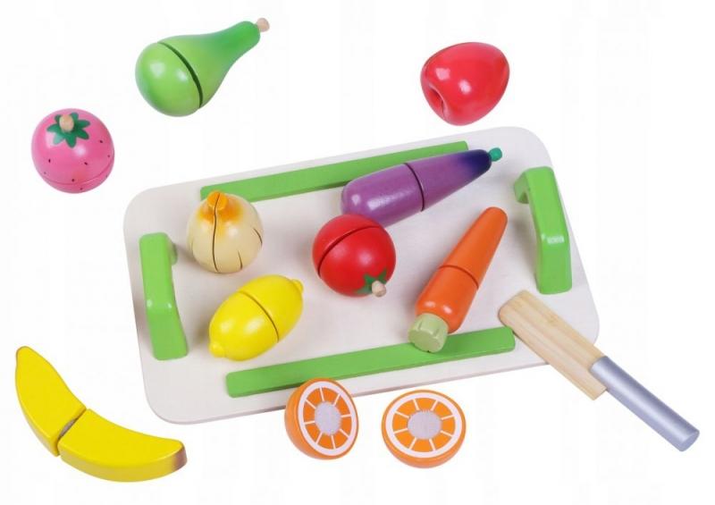 Eco toys Drevená zelenina a ovocie s doskou