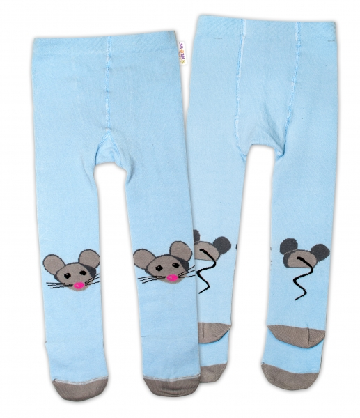 Baby Nellys Bavlnené pančucháče - Myška modrá, veľ. 92/98-#Velikost koj. oblečení;92/98