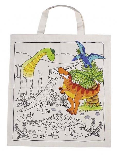 Detská Eko bavlnená taška k vyfarbenie - Dino