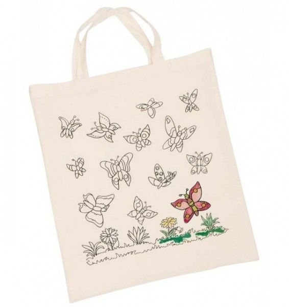 Detská Eko bavlnená taška k vyfarbenie - Motýliky