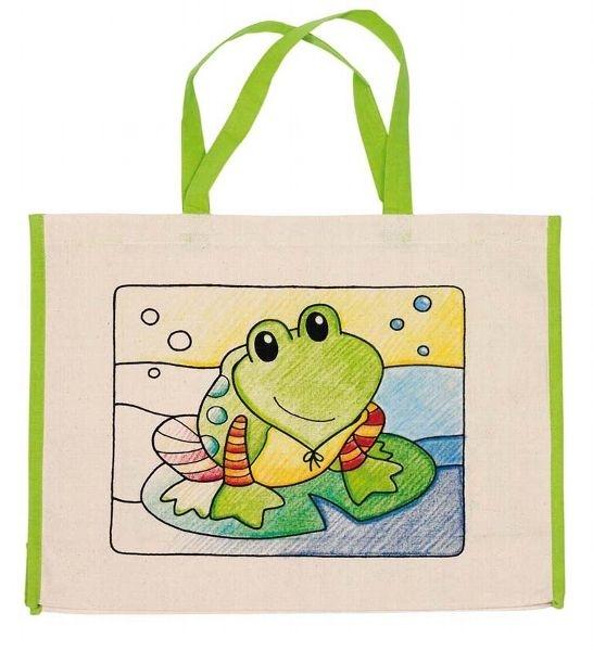 Goki Detská Eko bavlnená taška k vyfarbenie, 39x31,5cm - Žabka