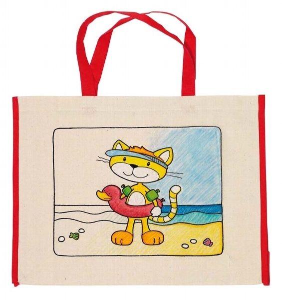 Goki Detská Eko bavlnená taška k vyfarbenie, 39x31,5cm - Mačka