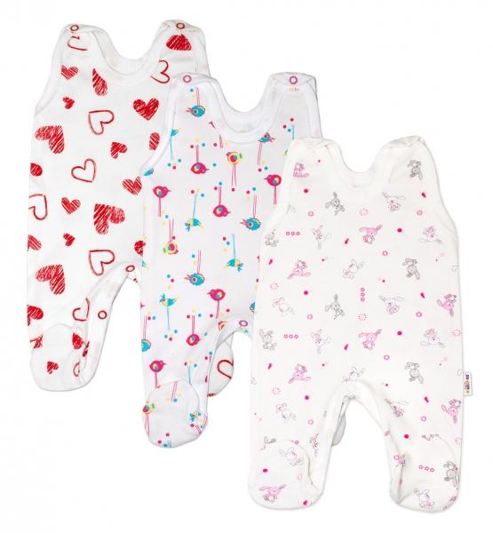 Výhodné balenie 3ks - dojčenské dupačky - dievčatko, veľ. 62-62 (2-3m)