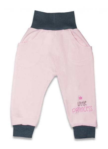Bavlnené tepláčky, Malá princezná - růžové, veľ. 62-62 (2-3m)